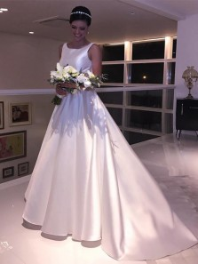 Vintage A-Line Scoop Neck Open Back White Satin Wedding Dresses with Bow