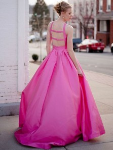 Stunning A-Line Halter Open Back Rose Red Satin Long Prom Dresses with Pockets,Evening Party Dresses