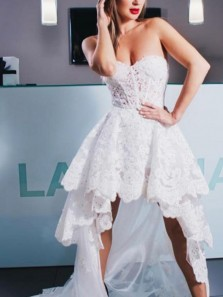 Fairy A-Line Sweetheart Open Back White Lace High Low Prom Dresses,Elegant Bridesmaid Dresses