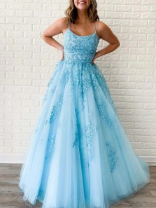 Elegant A-Line Scoop Neck Cross Back Yellow Tulle Long Prom Dresses with Lace,Formal Party Dresses