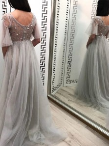Beautiful A-Line V Neck Short Sleeves Grey Tulle Long Prom Evening Dresses with Beading