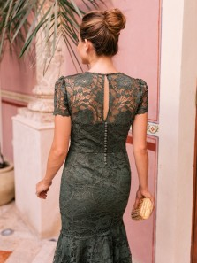 Elegant Mermaid Round Neck Olive Green Lace Below Length Prom Dresses,Short Formal Dresses DG0925009