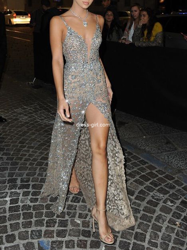 Sexy See Through V Neck High Split Sparkly Sequins Long Prom Evening Dresses,Formal Party Dresses