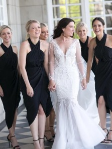 Sheath Halter Black Chiffon Irregular Hem Short Bridesmaid Dresses Under 100