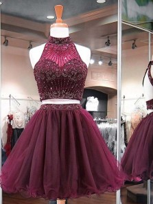 Two Piece Halter Open Back Burgundy Tulle Short Homecoming Dresses with Beading,Charming Short Prom Dresses