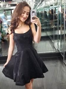 Cute A-Line Straps Little Black Dresses Short Homecoming Dresses,Short Prom Party Dresses DG0916007