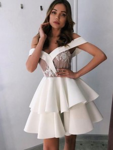 Unique A-Line Off the Shoulder White Satin Short Tiered Homecoming Dresses with Appliques,Short Prom Dresses