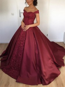 Ball Gown Off the Shoulder Burgundy Satin Long Prom Dresses with Appliques,Girls Junior Graduation Gown,Quinceanera Dresses