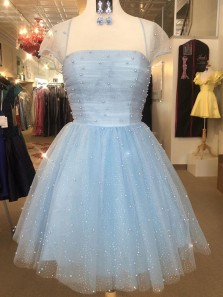 Cute A-Line Cap Sleeve Light Blue Tulle Short Prom Dresses with Pearls,Short Homecoming Dresses