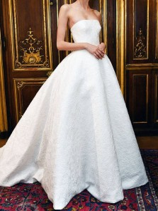 Classy A-Line Strapless Sweetheart Open Back White Satin Lace Long Wedding Dresses