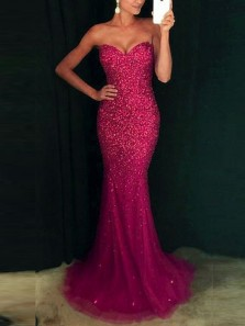 Modern Mermaid Sweetheart Open Back Rose Red Beading Long Prom Dresses,Evening Party Dresses