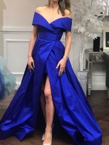 Stunning A-Line Off the Shoulder Open Back Royal Blue Satin Long Prom Dresses with High Slit,Evening Party Dresses