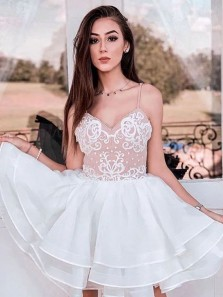 Modest A-Line Sweetheart Open Back White Lace Short Prom Dresses,Tiered Homecoming Dresses