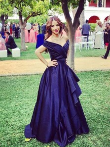 Stunning A-Line Off the Shoulder Navy Blue Satin Long Prom Dresses with Ruffle,Charming Formal Party Gown DG0918009