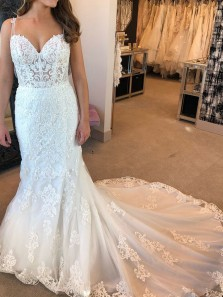 Charming Mermaid Sweetheart White Lace Wedding Dresses with Train