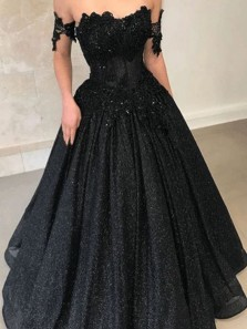 Glitter Ball Gown Off the Shoulder Black Sequins Long Prom Dresses