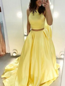 Stunning Two Piece Yellow Satin Long Prom Evening Dresses with Pockets,Formal Party Dresses