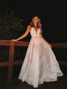 Glitter A-Line V Neck Cross Back White Sequin Spring Wedding Dresses,See Through Prom Evening Party Dresses
