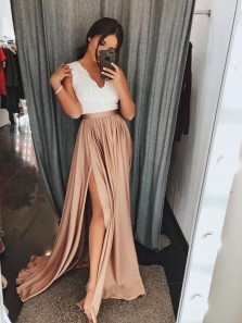 Elegant A-Line V Neck Champagne Satin Long Prom Dresses with Lace,Charming Evening Dresses