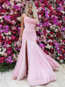 Chic Spaghetti Straps Open Back Pink Chiffon Long Prom Dresses with Side Split,Elegant Evening Party Dresses