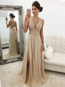 Modest A-Line Deep V Neck Cross Back Champagne Chiffon Long Prom Dresses with Beading,Evening Party Dresses DG1211009