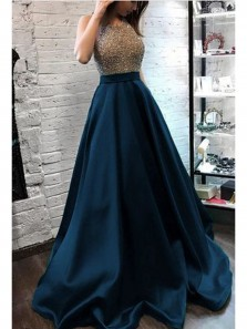 Elegant A-Line Round Neck Open Back Navy Blue Satin Long Prom Dresses with Beads,Evening Party Dresses
