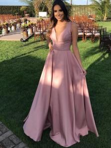 Elegant A-Line V Neck Open Back Blush Satin Long Prom Dresses with Beading,Formal Party Dresses