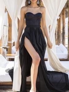 Sexy A-Line Sweetheart Black Chiffon Long Prom Evening Dresses with High Split,Maxi Dresses Women Dresses
