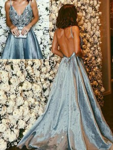Luxurious A-Line V Neck Backless Blue Long Prom Dresses with Beading,Charming Pageant Dresses