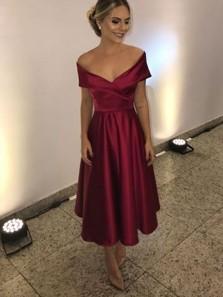 Simple A-Line Off the Shoulder Open Back Burgundy Satin Tea Length Prom Dresses,Cocktail Party Dresses