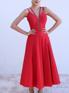 Simple A-Line V Neck Open Back Red Satin Tea Length Prom Dresses,Evening Party Dresses