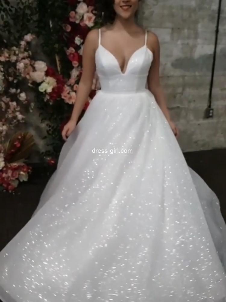 Sparkly A-Line V Neck Spaghetti Straps White Sequin Wedding Dresses,Spring Bridal Gown