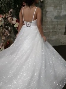 Sparkly A-Line V Neck Spaghetti Straps White Sequin Wedding Dresses,Spring Bridal Gown