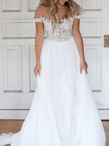 Pretty A-Line Round Neck Short Sleeves White Tulle Wedding Dresses,Lace Bridal Dresses