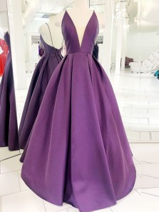 Classy A-Line V Neck Backless Purple Satin Long Prom Dresses with Pockets,Special Occasion Dresses