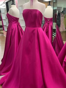Simple A-Line Strapless Open Back Rose Red Satin Long Prom Dresses,Formal Party Dresses