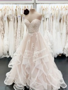 Charming A-Line Sweetheart Tulle Lace Wedding Dresses Bride Gown 2021