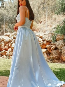 A Line Light Blue Lace Long Prom Dresses with Slit, Light Blue Lace Formal Dresses, Light Blue Evening Dresses