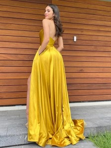 Yellow Halter Backless Yellow Satin Long Prom Dresses with Side Split