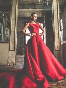 Elegant A Line Satin Red Scoop Long Prom Dress with Open Back Cathedral Train
