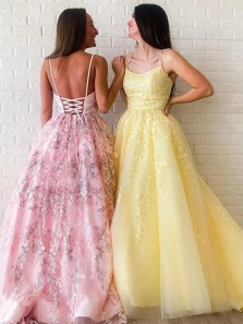 2020 Modest A-line V Neck Tulle Appliques Sleeveless Long Lace Prom,Sweet 16 Party Dresses Pageant Dresses