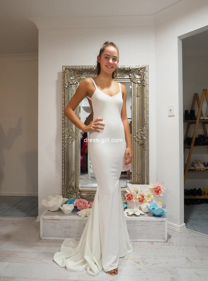 Charming Mermaid V Neck Backless White Satin Long Prom Dress Formal Evening Party Dresses