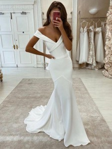 Simple Mermaid Off the Shoulder White Soft Satin Wedding Dresses