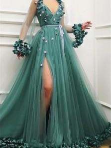 Gorgeous Green A-Line V-Neck Tulle Long Sleeve Side Slit Prom Dresses