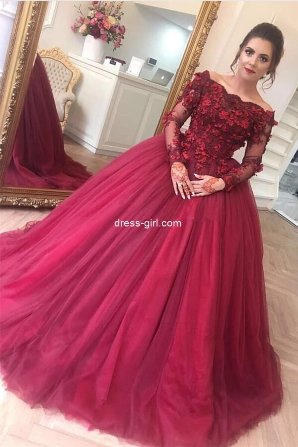 Ball Gown Off the Shoulder Long Sleeves Red Tulle Prom Quinceanera Dress with Appliques