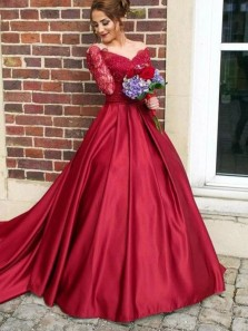 Off the Shoulder Long Sleeve Red Satin Long Ball Gown Prom Dress Lace Appliques Quinceanera Dresses