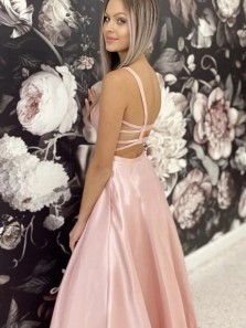 Simple A Line Pink Satin Long Prom Dresses, Long Pink Formal Evening Dresses