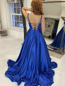 Simple Royal Blue Satin Long Prom Dresses, Royal Blue Formal Graduation Evening Dresses