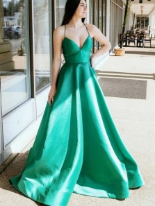 Simple V Neck Green Satin Long Prom Dresses, V Neck Green Formal Graduation Evening Dresses
