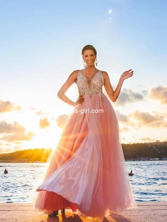Gorgeous A-Line V Neck Open Back Pink Tulle Prom Dresses with Beading